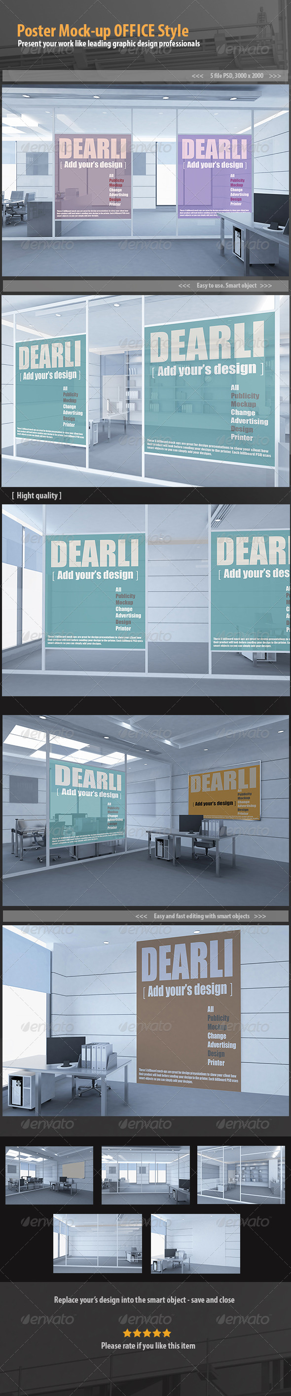 GraphicRiver Poster Mock-up OFFICE Style 6689459