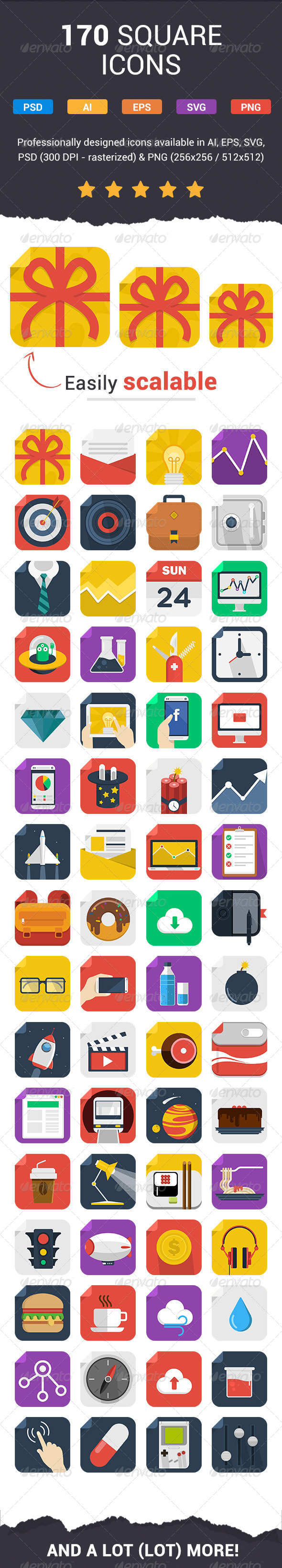 GraphicRiver 170 Fresh Flat Icons 6691176