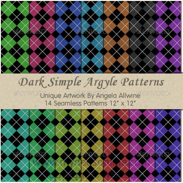 GraphicRiver Dark Simple Argyle Pattern Set 6691479
