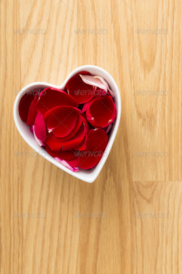 Rose pedal in heart bowl - Stock Photo - Images