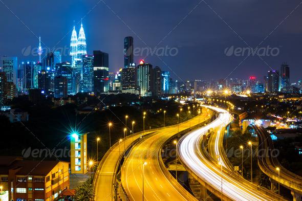 Kuala Lumpur at night - Stock Photo - Images