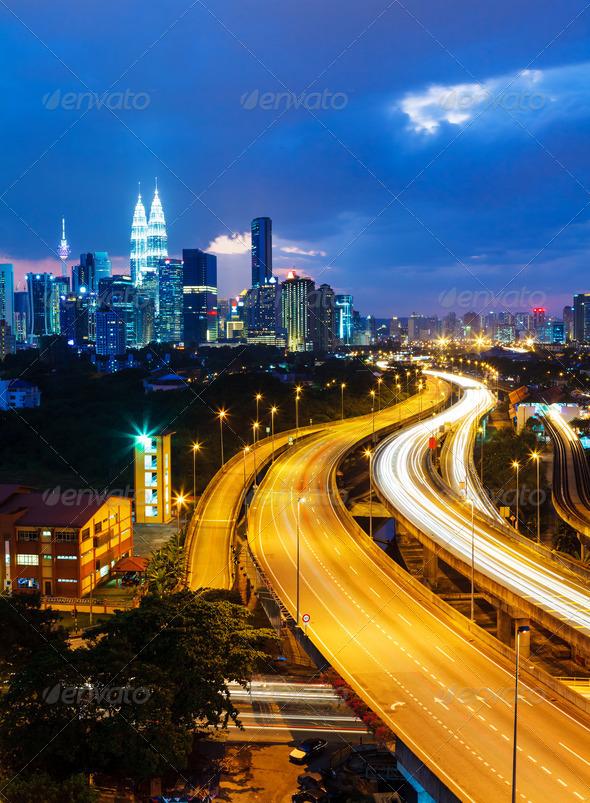 Kuala Lumpur skyline at night - Stock Photo - Images
