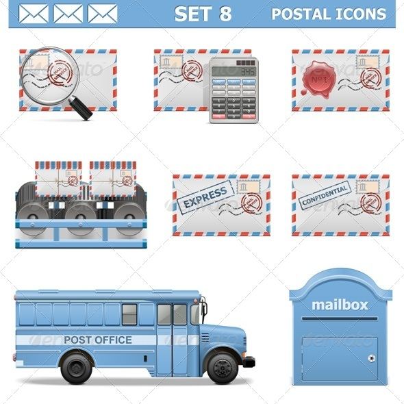 GraphicRiver Vector Postal Icons Set 8 6692772