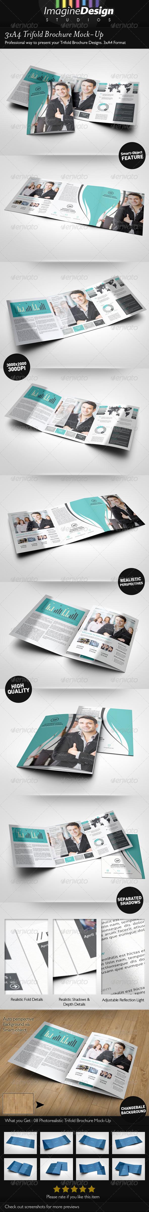 GraphicRiver 3xA4 Trifold Brochure Mock-Up 6693344