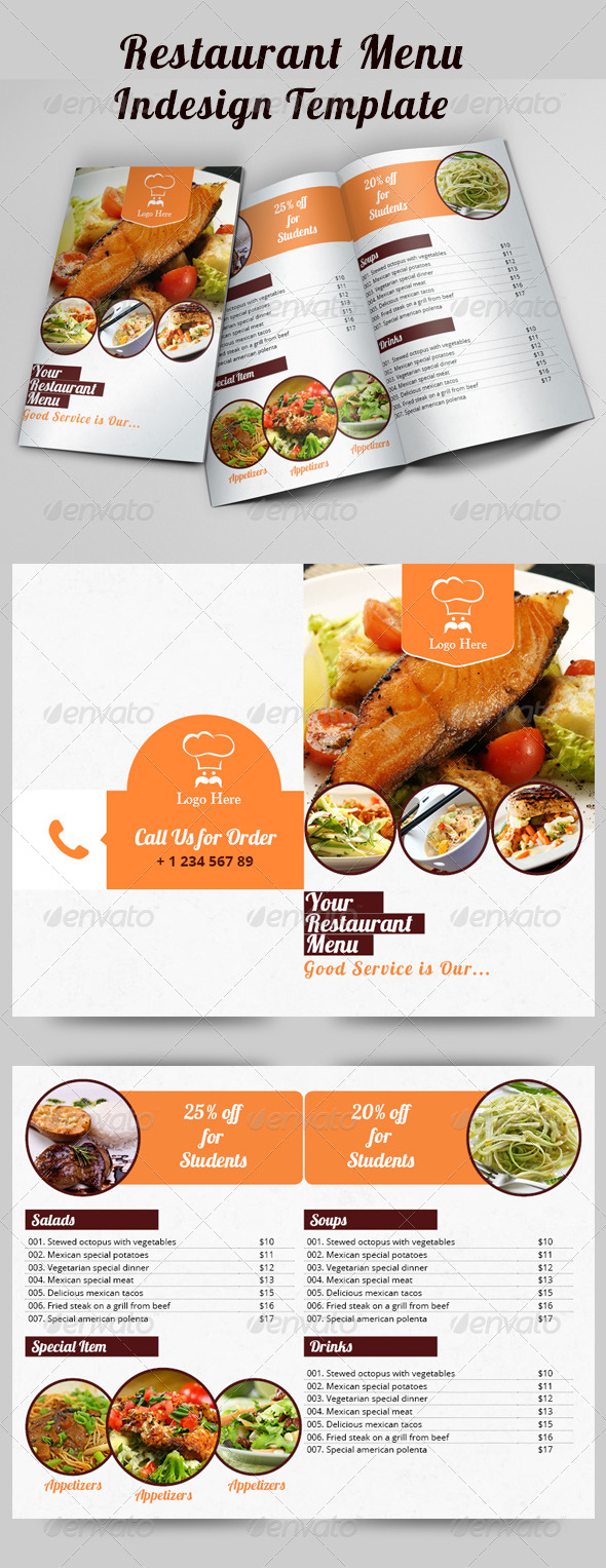 Restaurant Menu Indesign Brochure Template - Brochures Print Templates