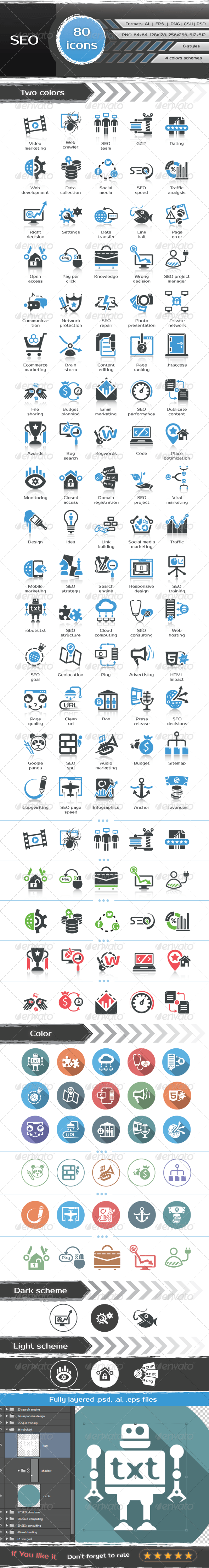 GraphicRiver 80 SEO icons 6693849