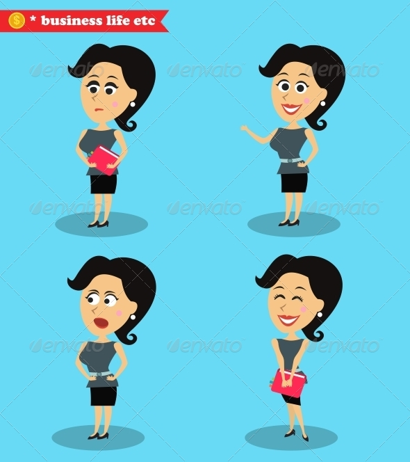 GraphicRiver Clever Office Girl Standing Set 6694279