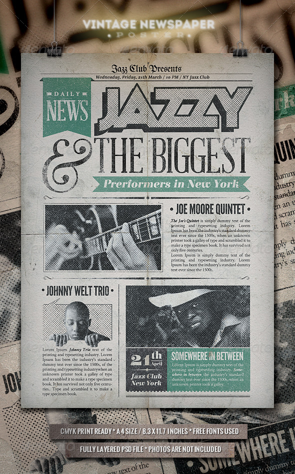 GraphicRiver Jazz Vintage Newspaper Poster 6694558