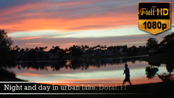 Night and day in urban lake Doral Fl