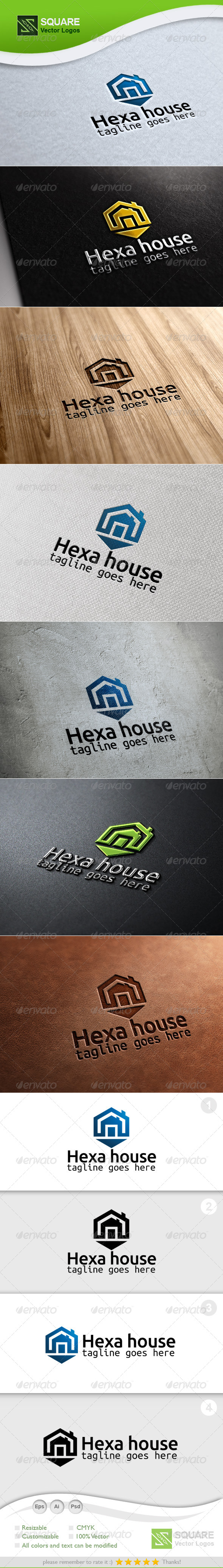 Hexagon, House Vector Logo Template - Buildings Logo Templates