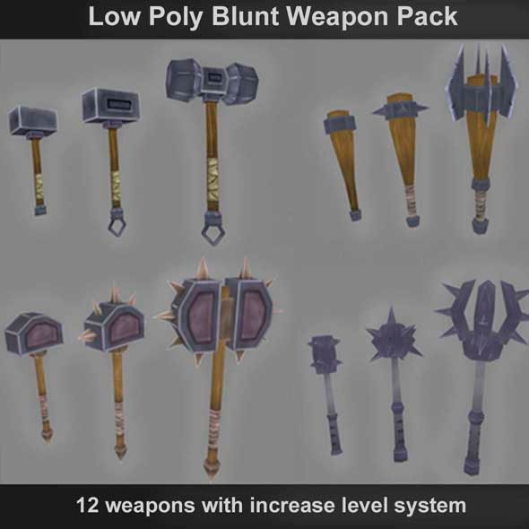 3DOcean Low Poly Blunt Weapons 6695374