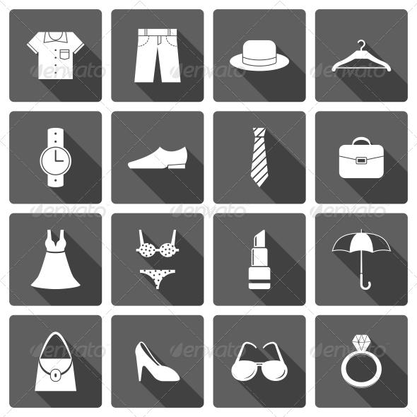 GraphicRiver Clothes Accessories Shoes Icons Set 6695554
