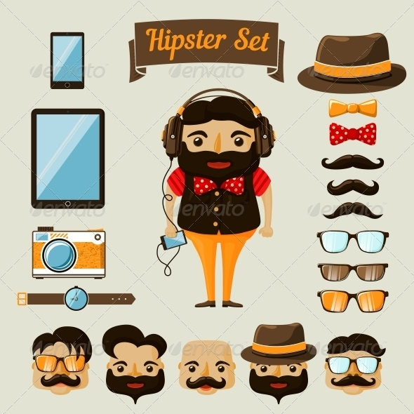 GraphicRiver Hipster Character Elements for Nerd Boy 6695588
