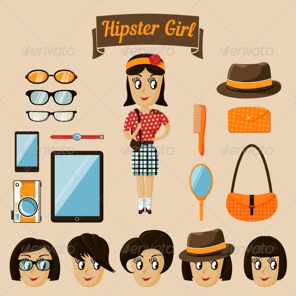 GraphicRiver Hipster Character Elements for Nerd Woman 6695591