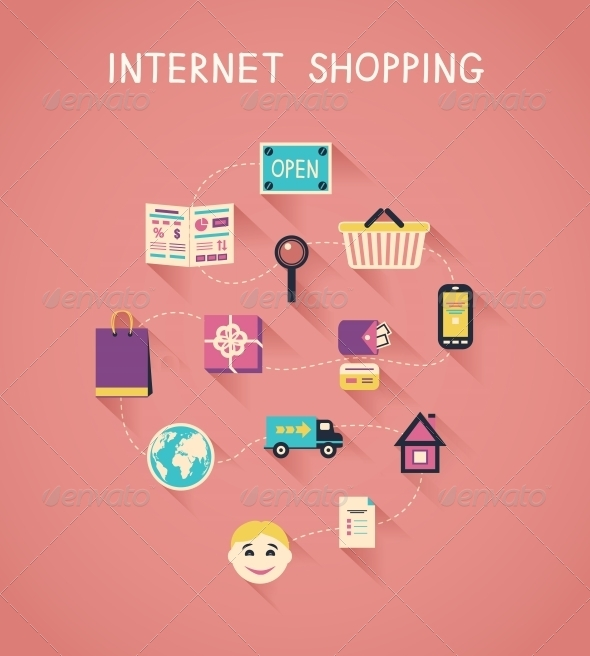 Internet Marketing and Online Shopping Infographic