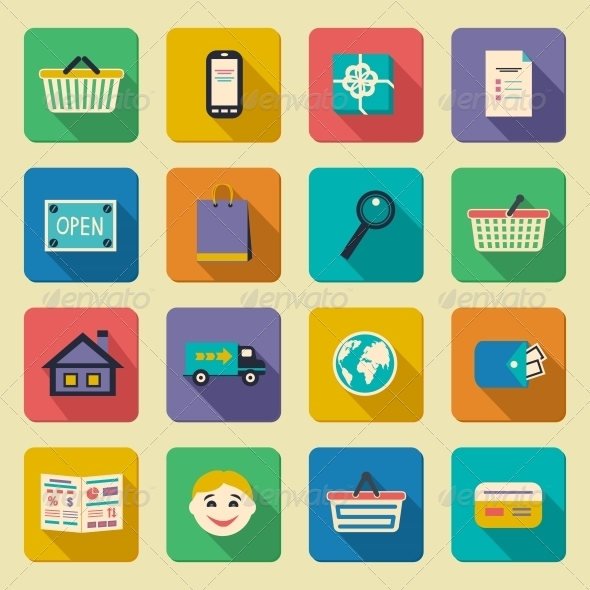 GraphicRiver Online Shopping Icons Set 6695603