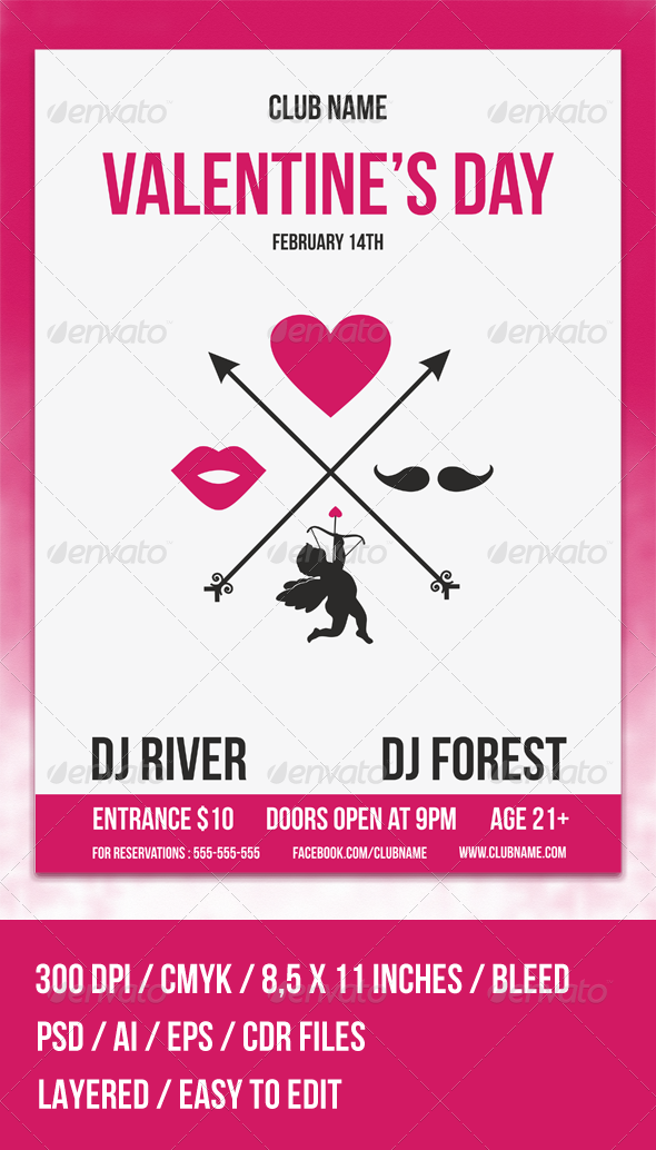 GraphicRiver Hipster Valentine s Day Flyer Template 6695907