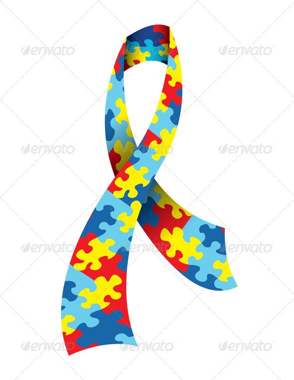 GraphicRiver Autism Awareness Ribbon 6695976