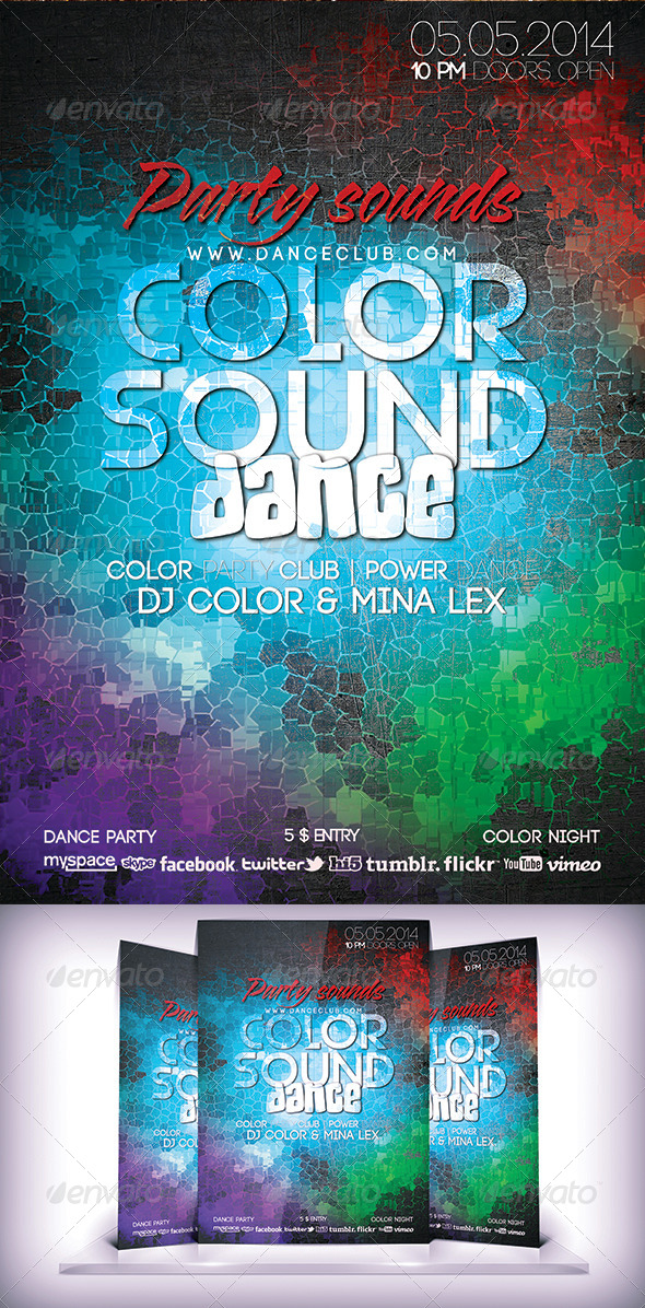 GraphicRiver Color Sound Dance Flyer 6696353