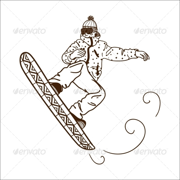 GraphicRiver Snowboarding Jumping Man 6696801