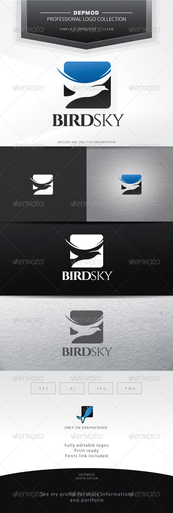 GraphicRiver Bird Sky Logo 6696894