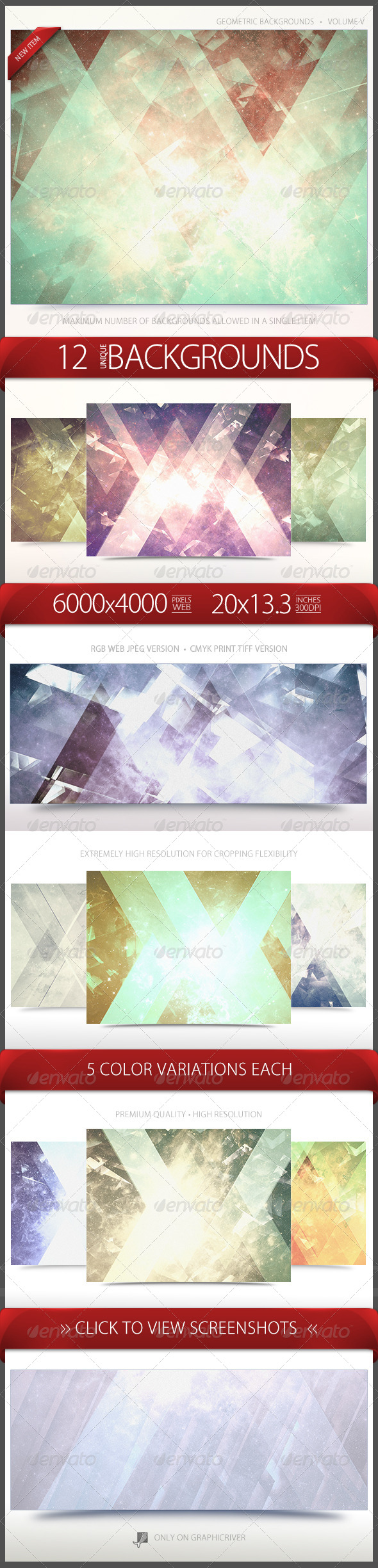 GraphicRiver Geometric Backgrounds Volume 5 6696905