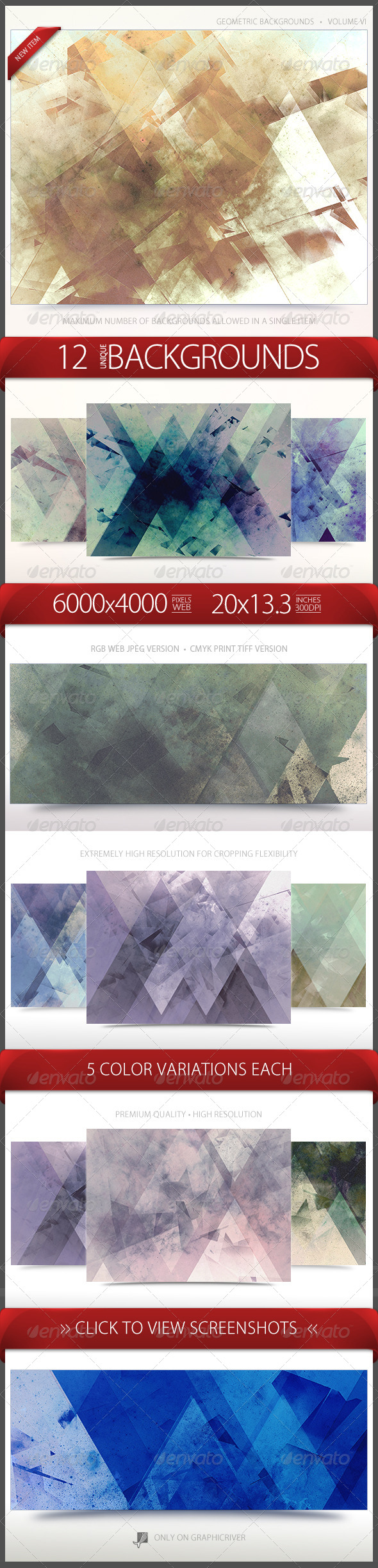 GraphicRiver Geometric Backgrounds Volume 6 6696921