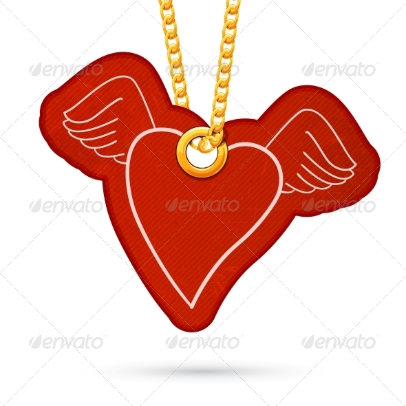 GraphicRiver Heart with Wings Tag Hanging on Golden Chain 6696927