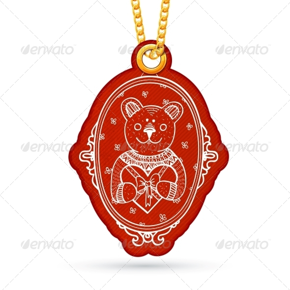 GraphicRiver Bear in Mirror Label Hanging on Golden Chain 6696931