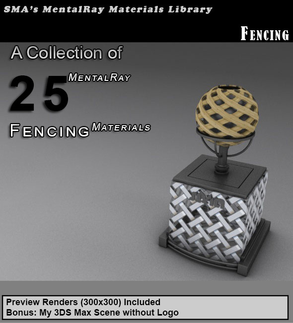 3DOcean 25 Fencing Materials Mental Ray 6697352