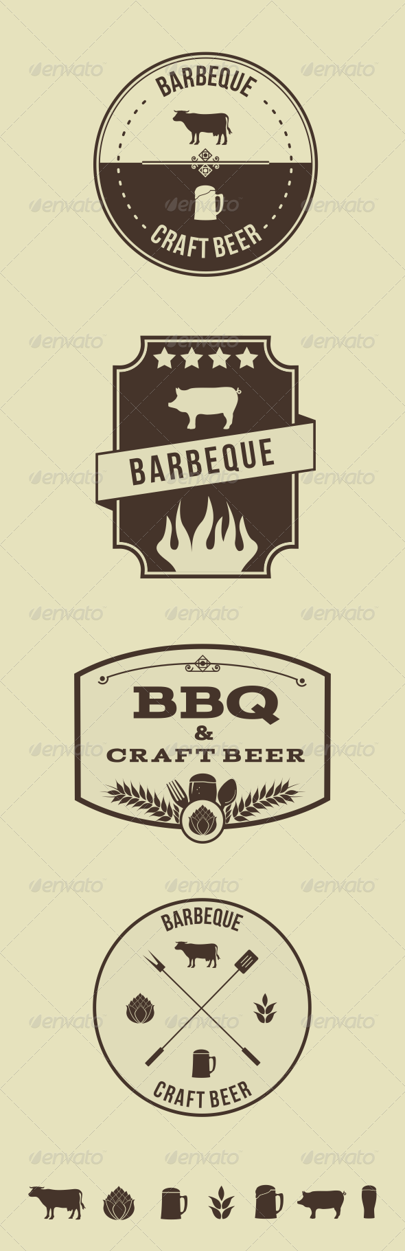 GraphicRiver Vector Hipster Barbeque Emblems 6697371