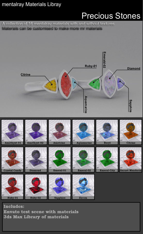 16 Precious Stone Materials (Mental Ray) - 3DOcean Item for Sale
