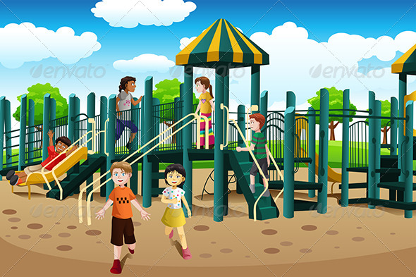 GraphicRiver Kids Playing in the Playground 6697536