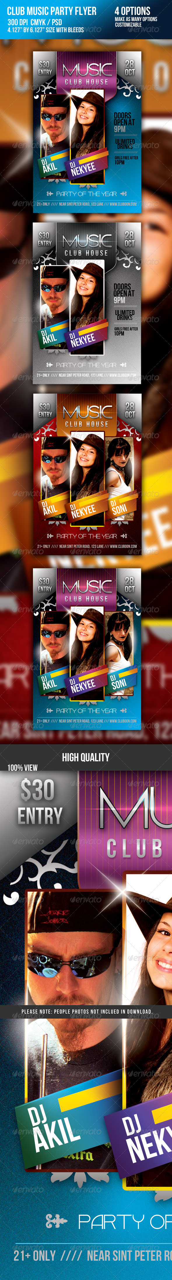 Club Music DJ Night Party Flyer - Clubs & Parties Events
