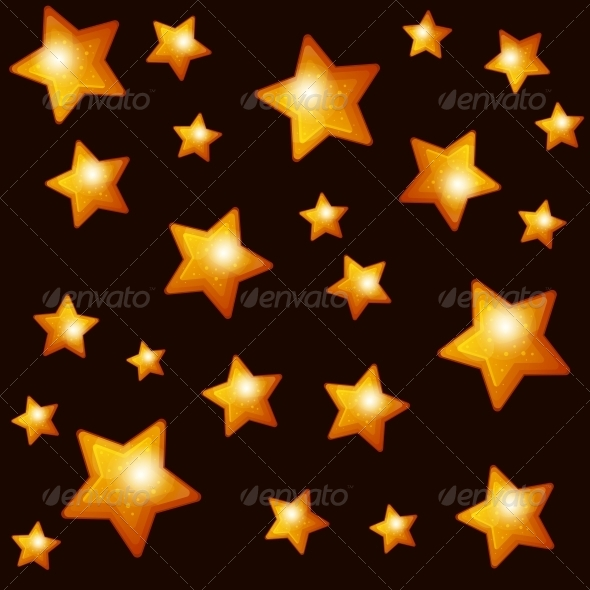 GraphicRiver Seamless Pattern with Gold Stars on Dark Backgroun 6698354