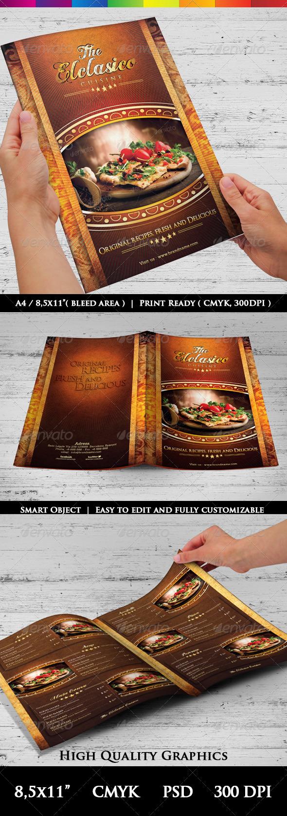 GraphicRiver The Elclasico Cuisine Menu Templates 6698634