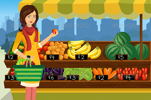 GraphicRiver Woman Shopping in an Outdoor Farmers Market 6698802