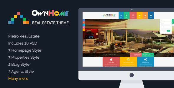 OwnHome - Real Estate Metro Style PSD Template -