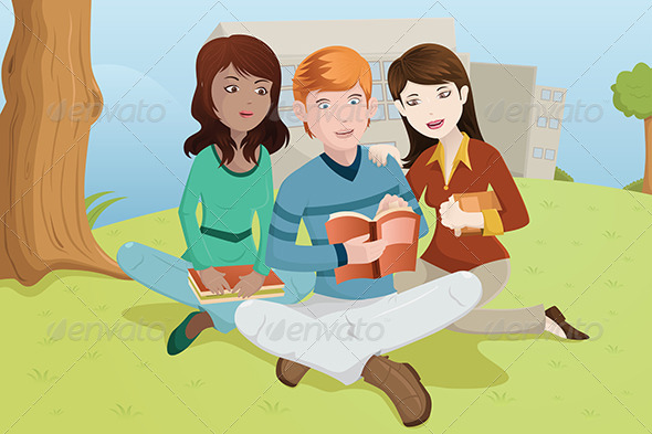 GraphicRiver College Students Studying Outdoors 6699185