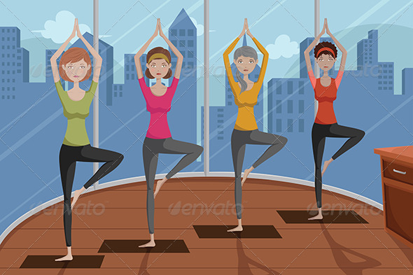GraphicRiver People doing Yoga 6699216