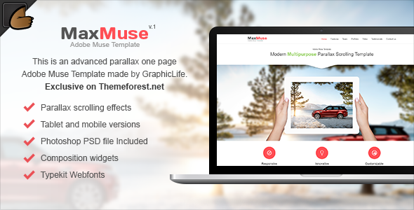 ThemeForest MaxMuse One Page Muse Template 6171136