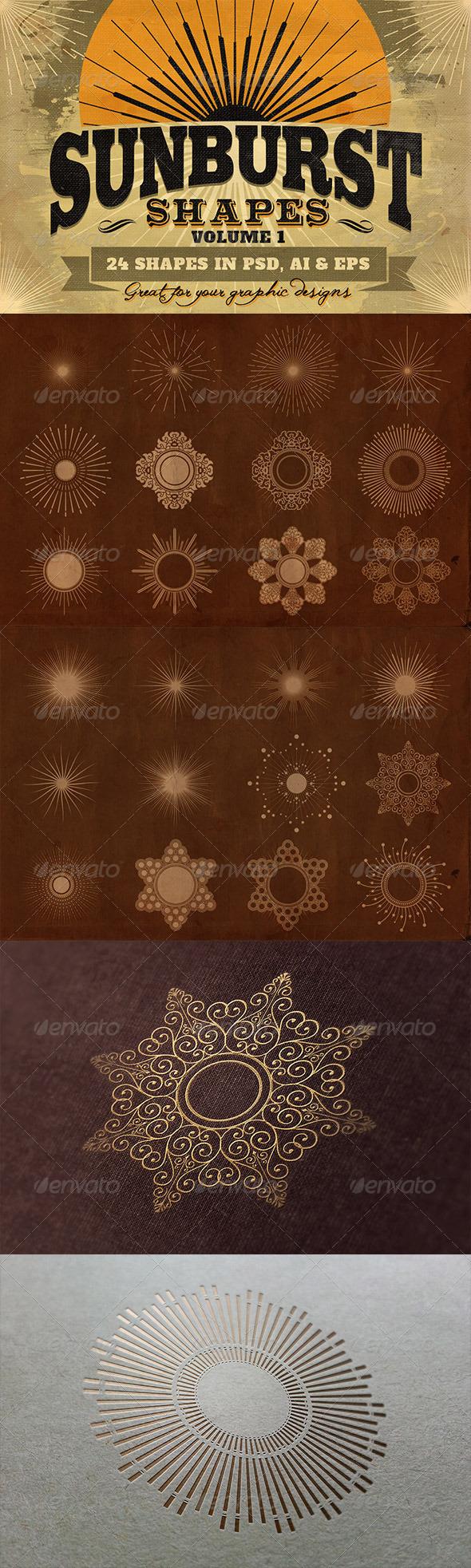 GraphicRiver Sunbursts Shapes Vol.1 6702139