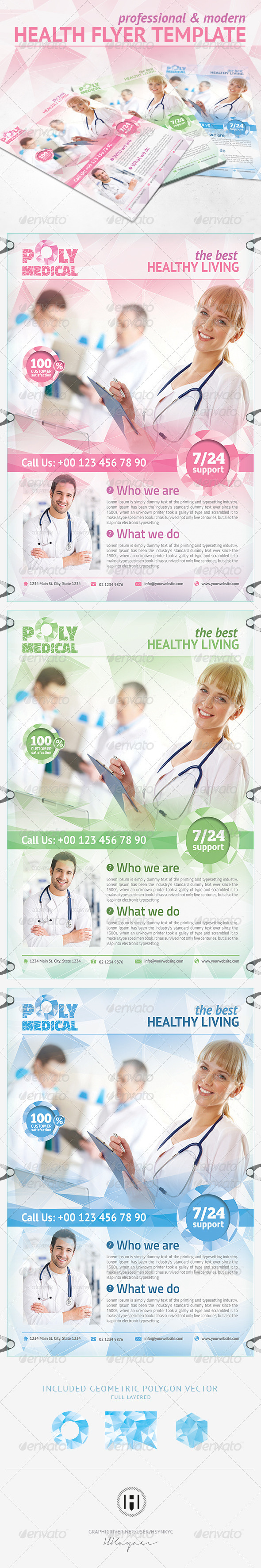 Health Flyer Template Polygon Design