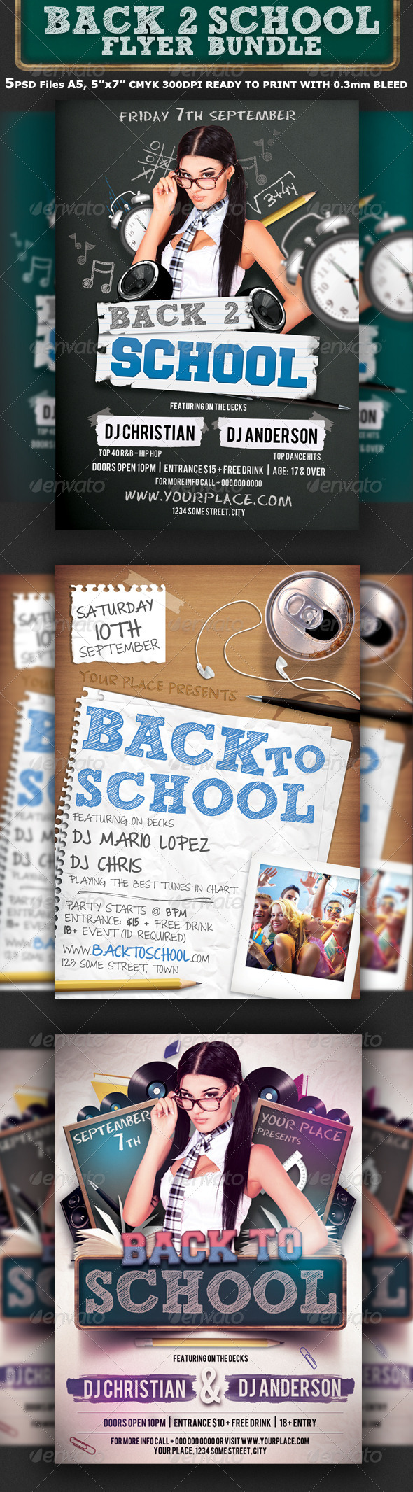 GraphicRiver Back To School Party Flyer Bundle 3in1 6702564