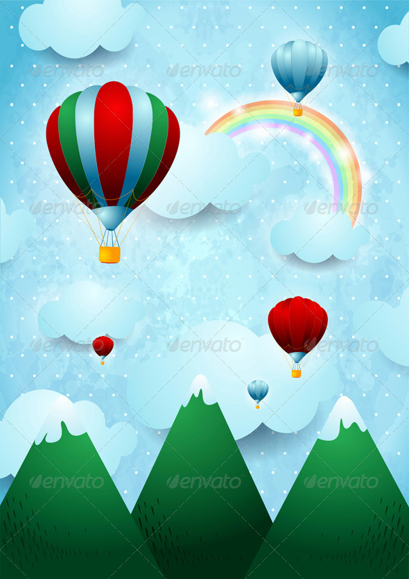 GraphicRiver Hot Air Balloons Over the Mountains 6702822