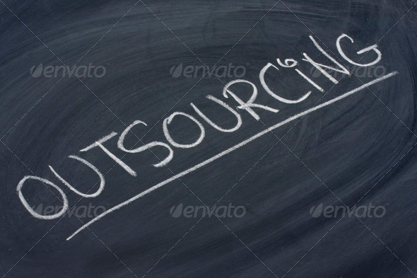 PhotoDune outsourcing word on blackboard 702221
