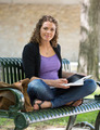 Beautiful University Student On Bench - PhotoDune Item for Sale