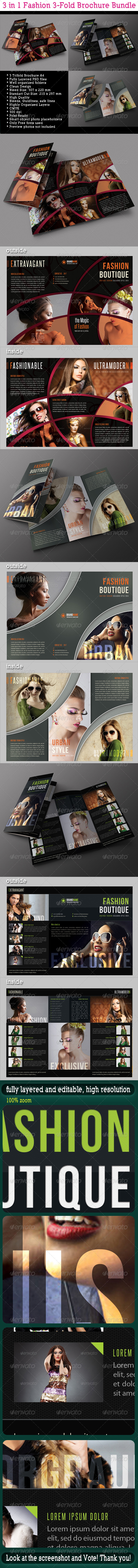 GraphicRiver 3 in 1 Fashion 3-Fold Brochure Bundle 04 6695608