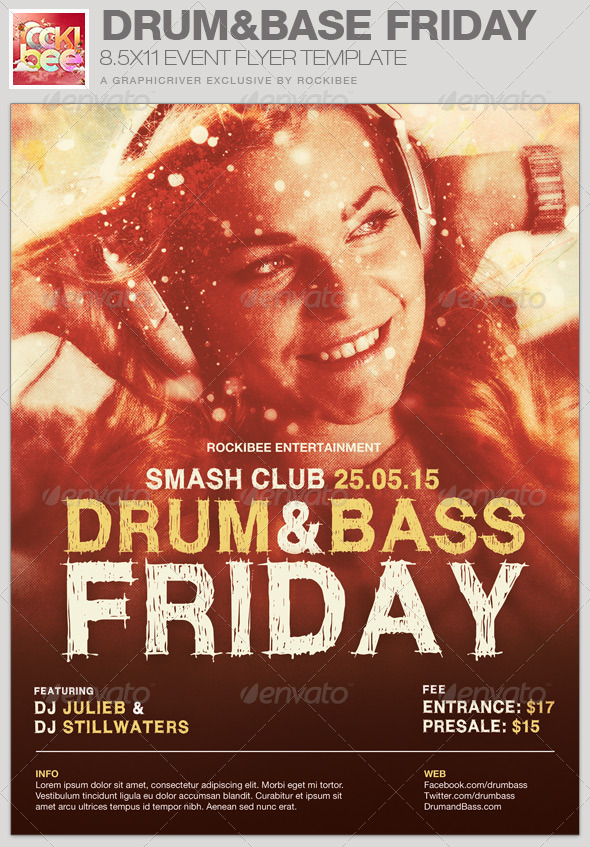 GraphicRiver Drum and Base Friday Event Flyer Template 6703117