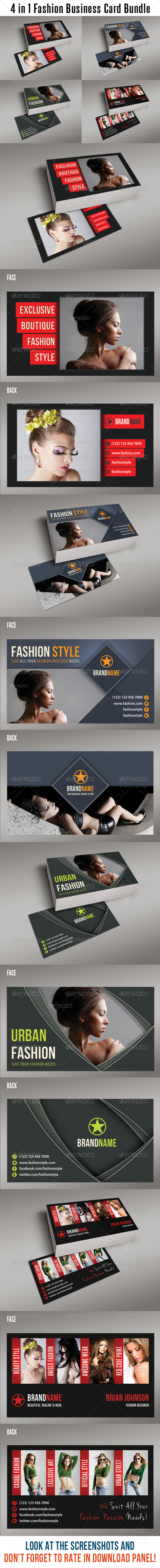 GraphicRiver 4 in 1 Fashion Business Card Bundle 02 6703159